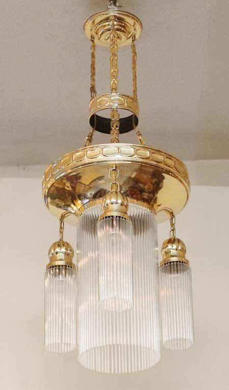 Jugendstil Luster Messing Lampe Glasstaebe Jugendstil Lampe Mobel Restaurieren