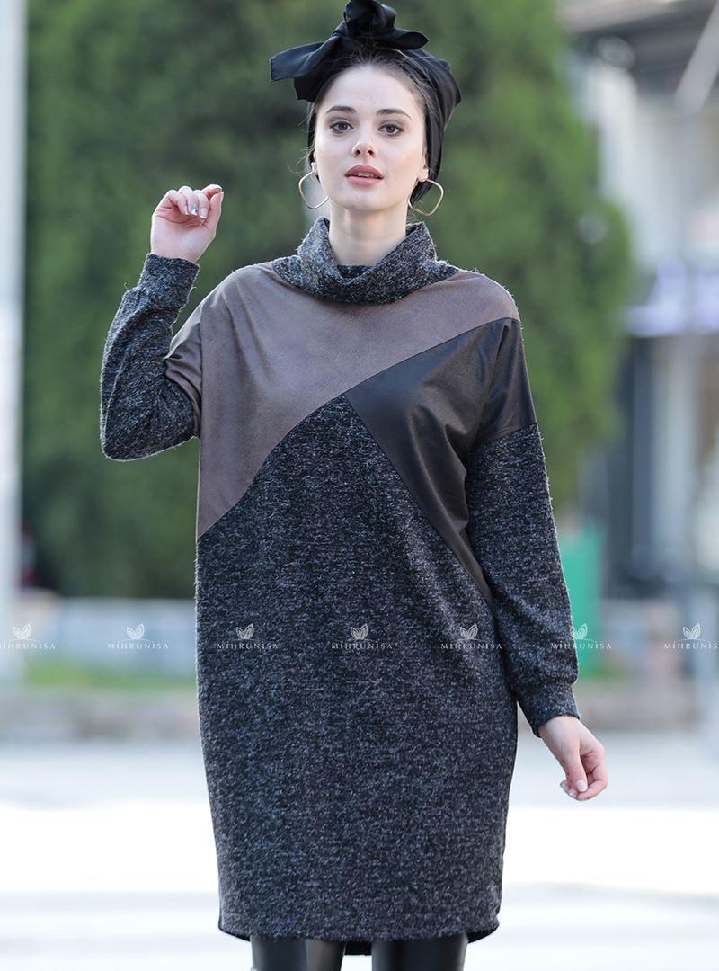 Deri Garnili Tunik Siyah Selam Sari Moda Stilleri Tunik Siyah