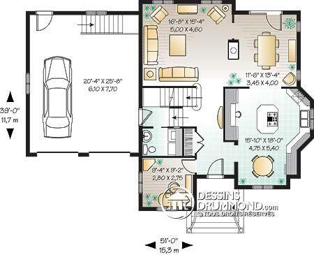 Détail du plan de Maison unifamiliale W3432 Idée maison Pinterest