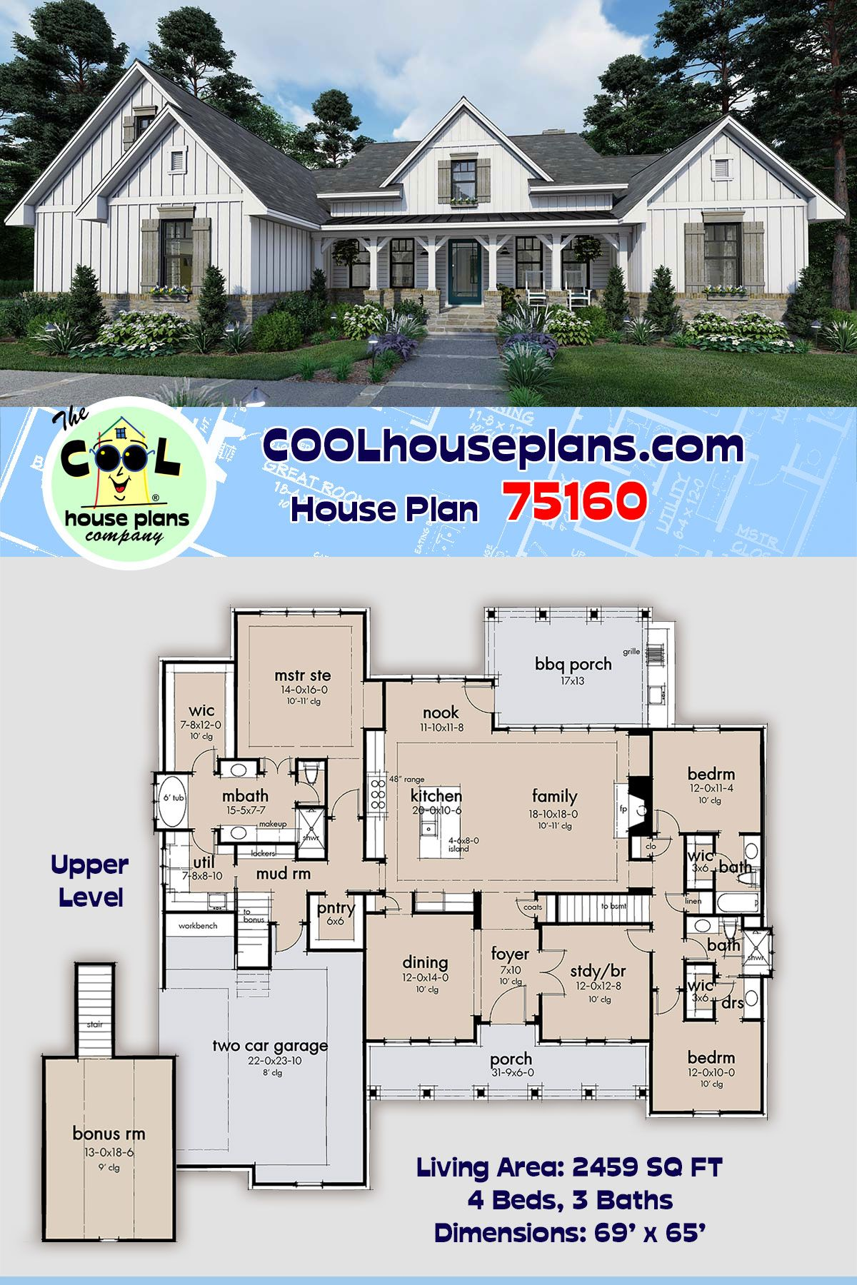 Southern Style House Plan 75160 With 4 Bed 3 Bath 2 Car Garage House Plans Farmhouse Plans Modern Farmhouse Plans