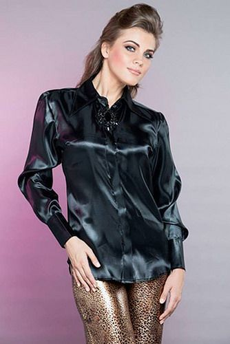 Black Satin Blouse | Satin Blouse | Pinterest | Satin blouses ...