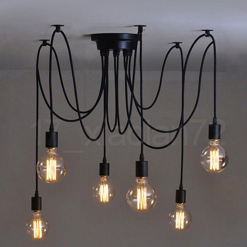 Ee 8 Lights Vintage Edison Lamp Shade Multiple Adjule Diy Ceiling Spider Pendent Lighting Chandelier Modern Chic Easy Fit Industrial Dining