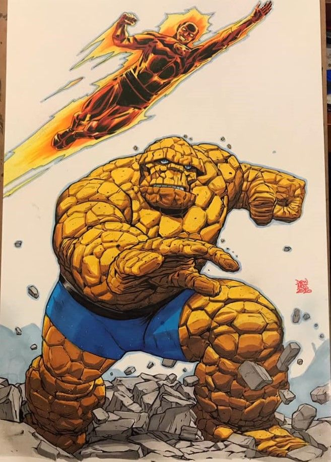 Human Torch and The Thing by Drew Moss