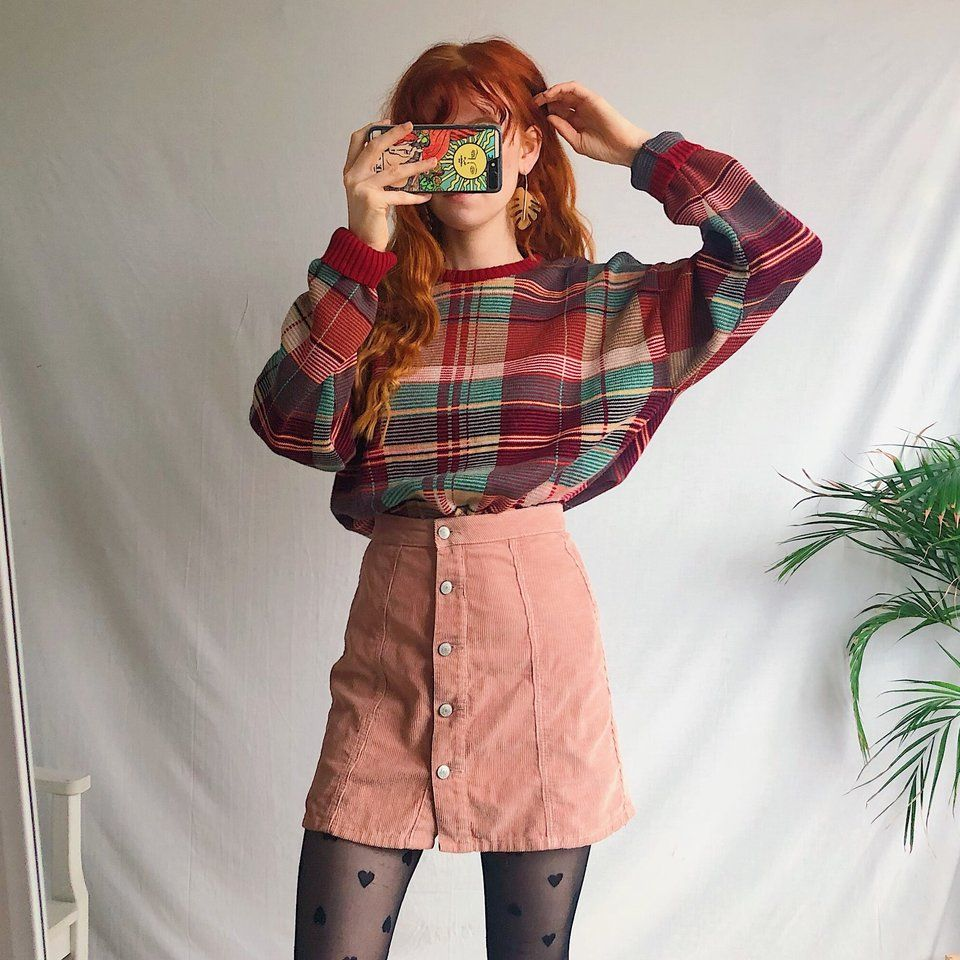 Comfy Cosy Red Check Tartan Vintage Jumper Sweater A Depop Vintage Outfits Retro Outfits Clothes