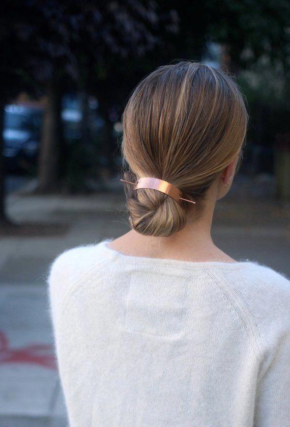 Bun holder copper hair cuff modern hair clip brass hair slide | Etsy