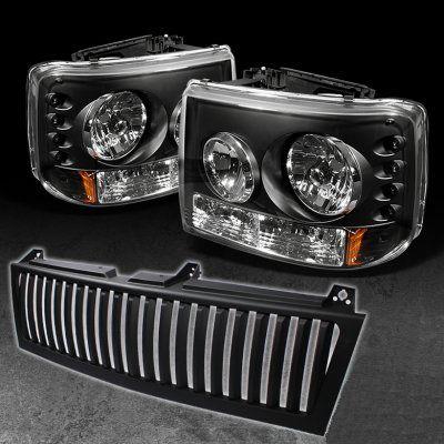 Chevy Silverado 1999 2002 Black Vertical Grille And Headlights With Led Chevy Silverado Silverado Silverado 1500 Accessories