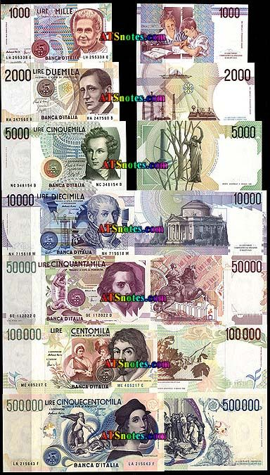 Italy Currency Italy Banknotes Italy Paper Money Catalog And Italian Currency Bank Notes Money Collection Currency Design