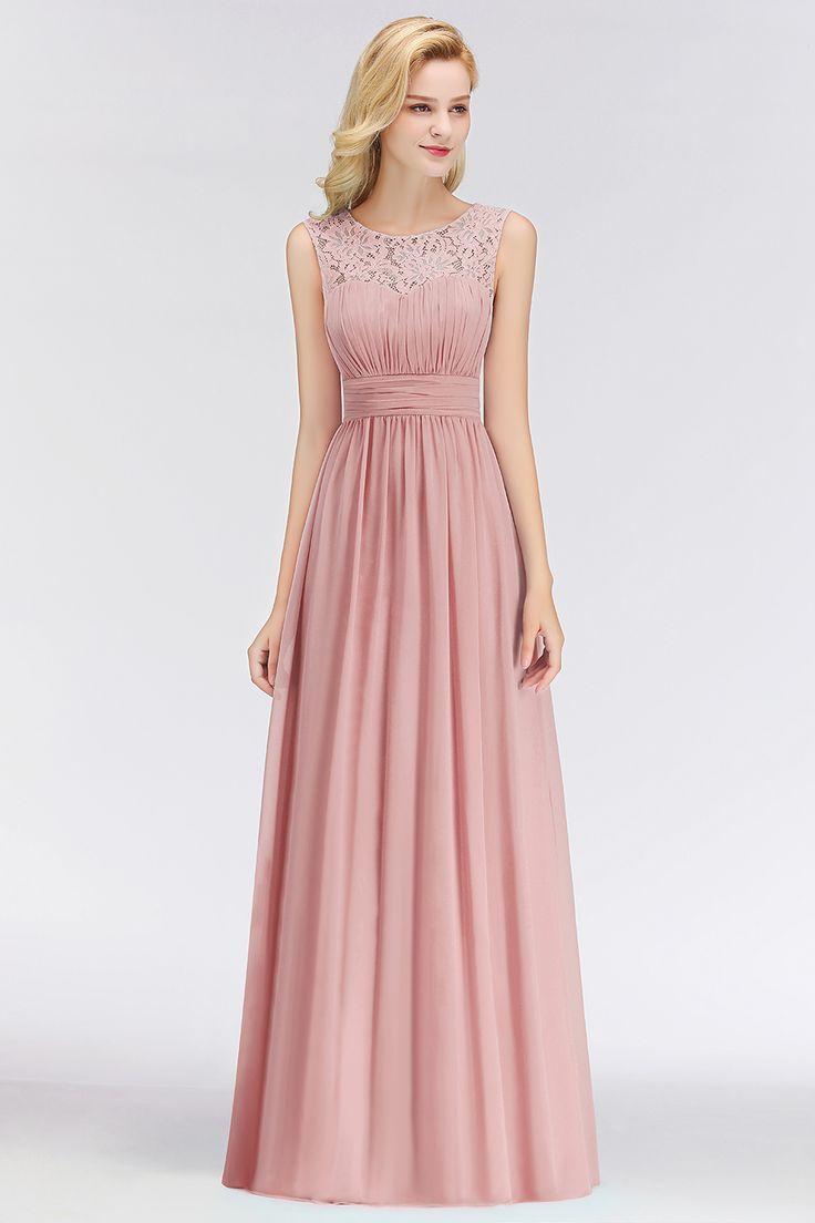 Elegante alte rosa Brautjungfernkleider Chiffon lange rosa