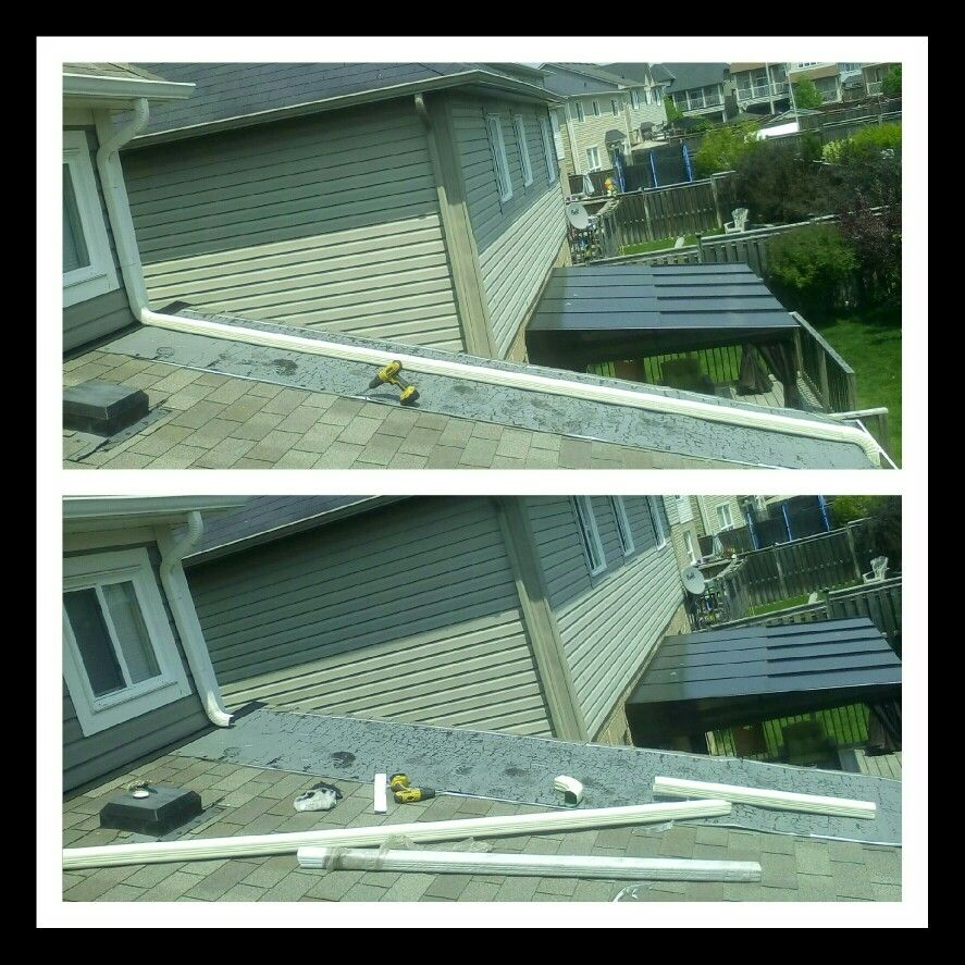Eavestrough Repair And Downpipe Installation Eavestroughrepair Downpipeinstallation Leafguardinstallation Gutte Exterior Renovation House Exterior Roofing