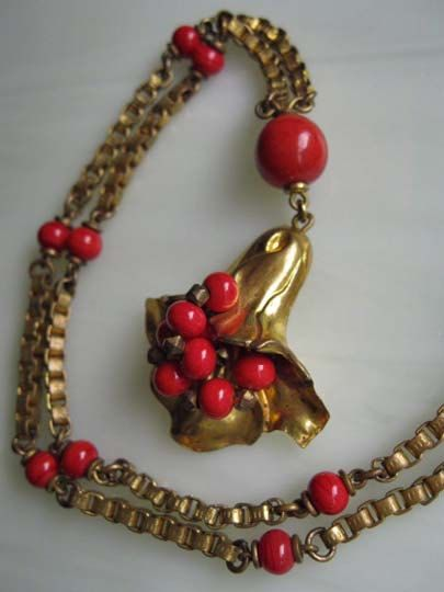 Victorian Flower Bell Brass Necklace, Coral Glass Flower Bead Clusters by GemParlor on Etsy