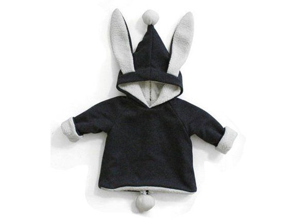 45110314dfc PAPER PATTERN Kids Rabbit ear Hood Top jumper Zip coat