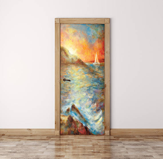 Watercolor Door Mural Sea Door Wrap Peel And Stick Door Decal
