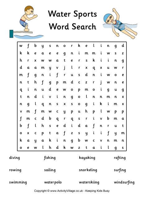 Water Sports Word Search