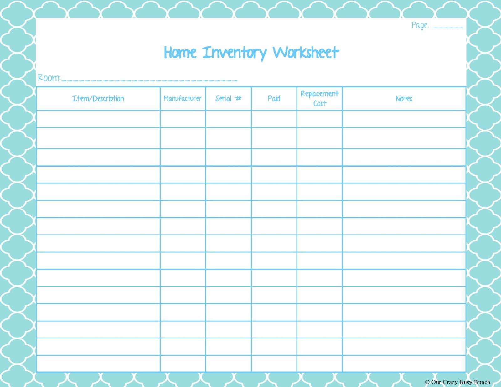 Home Inventory Worksheet