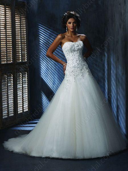 Princess Strapless Applique Organza Sweep Train Wedding Dress at ...