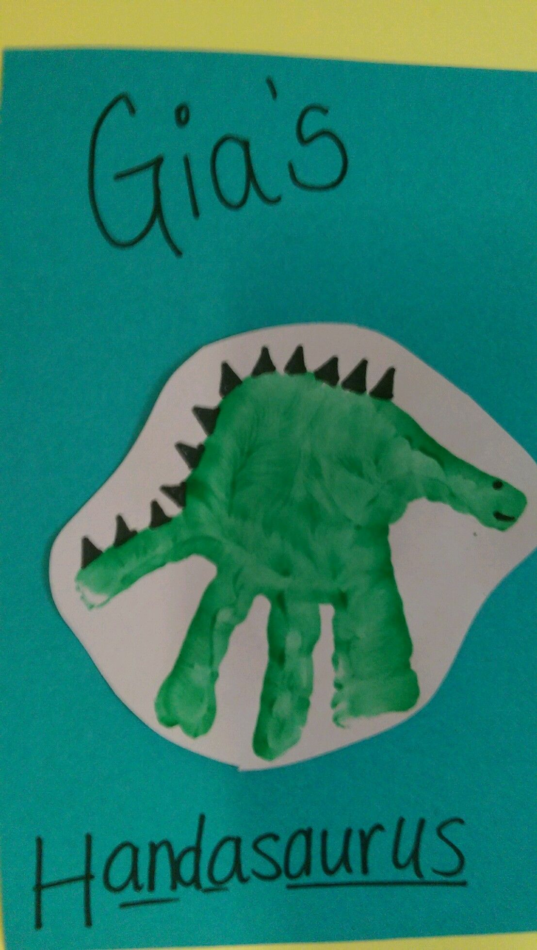 Dinosaur handprint arts crafts idea for children for Dinosaur crafts for toddlers