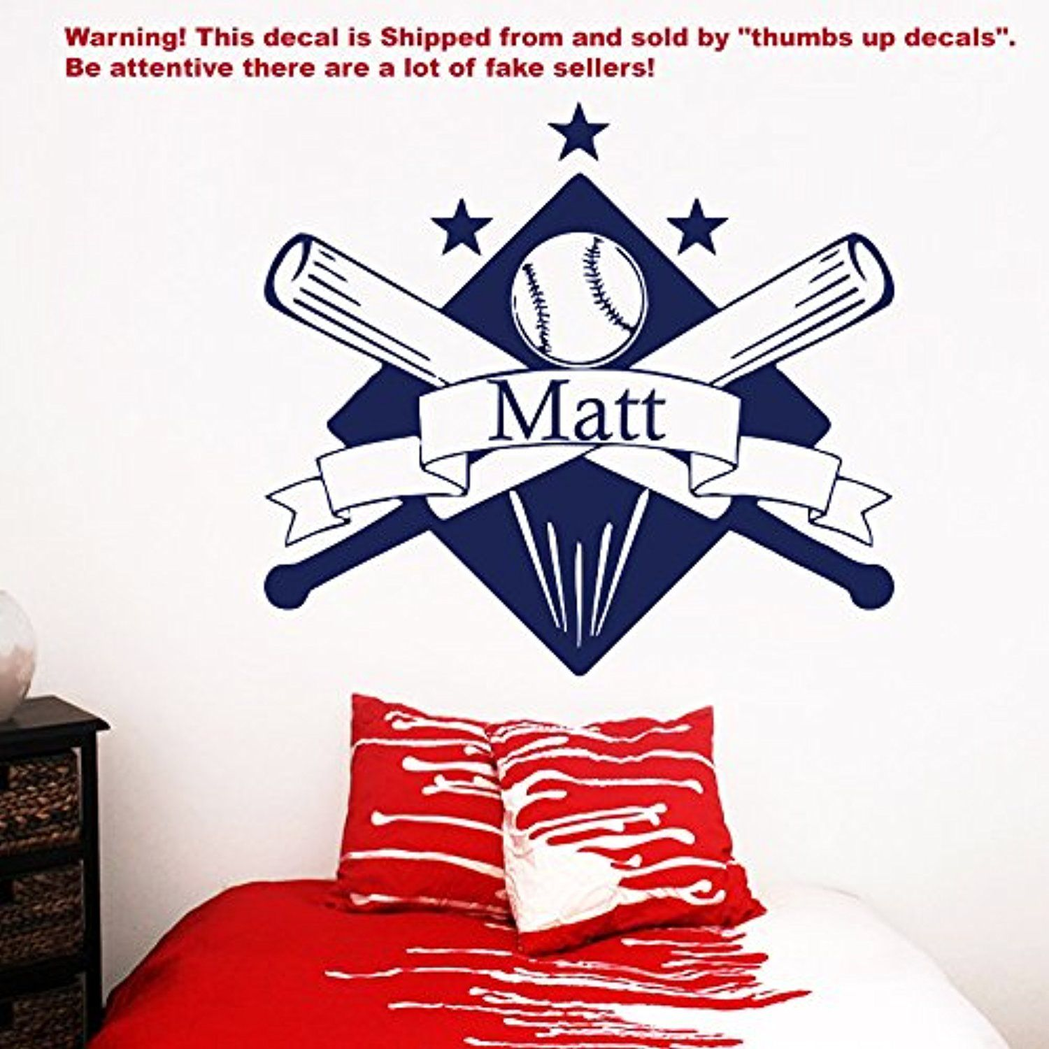 Wall Decals Personalized Name Baseball Decal Vinyl Sticker