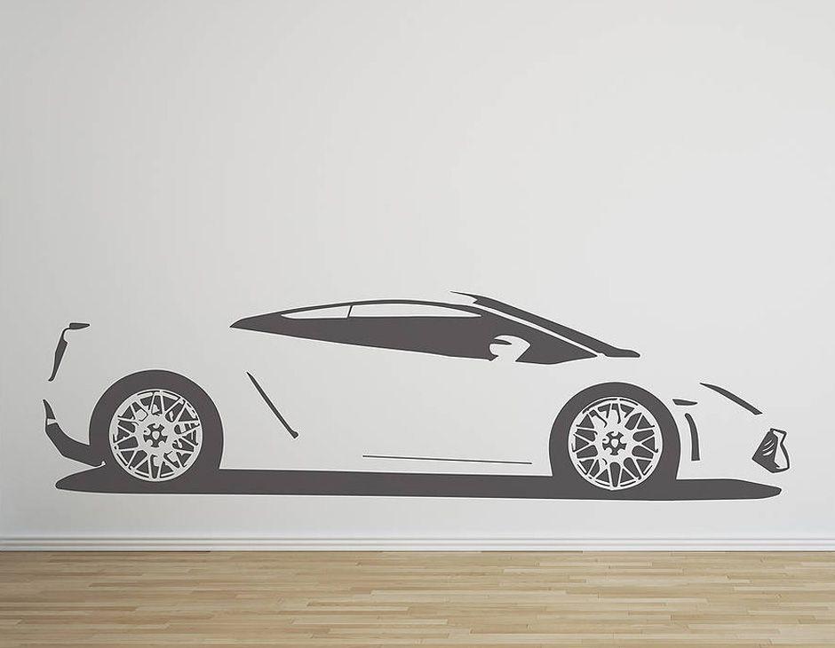A Replica Vinyl Wall Sticker Of An Lamborghini Gallardo Supercar