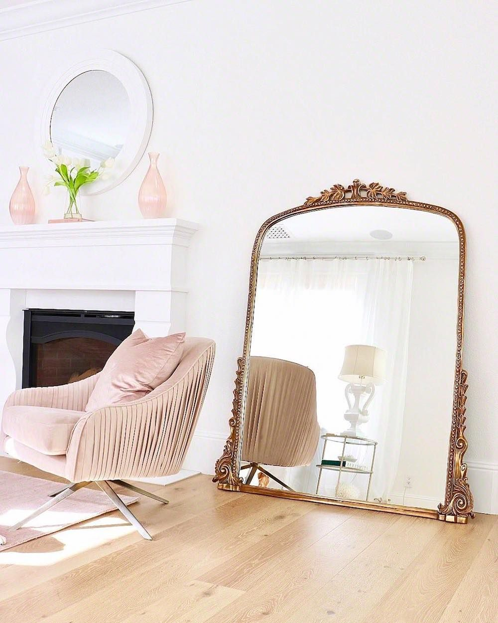 Gold 7 Foot Gleaming Primrose Mirror With Blush Velvet Chair In Living Room Blushchairs Vint White Walls Living Room Feminine Living Room Living Room Mirrors