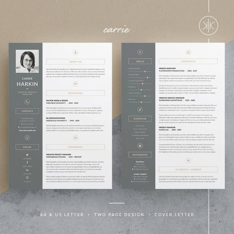 Carrie Resume/CV Template Word InDesign Etsy