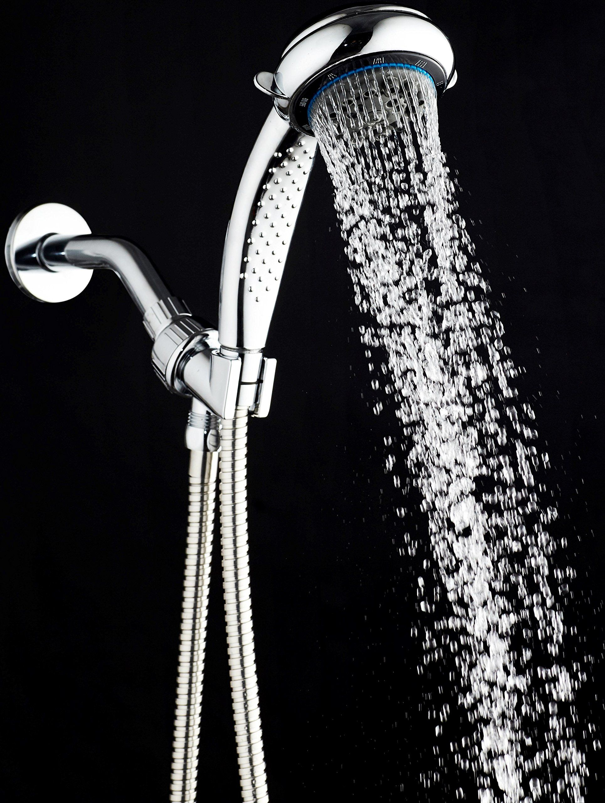 Handheld Shower Head with 8 Spray Settings, Chrome; Hose, Adjustable ...