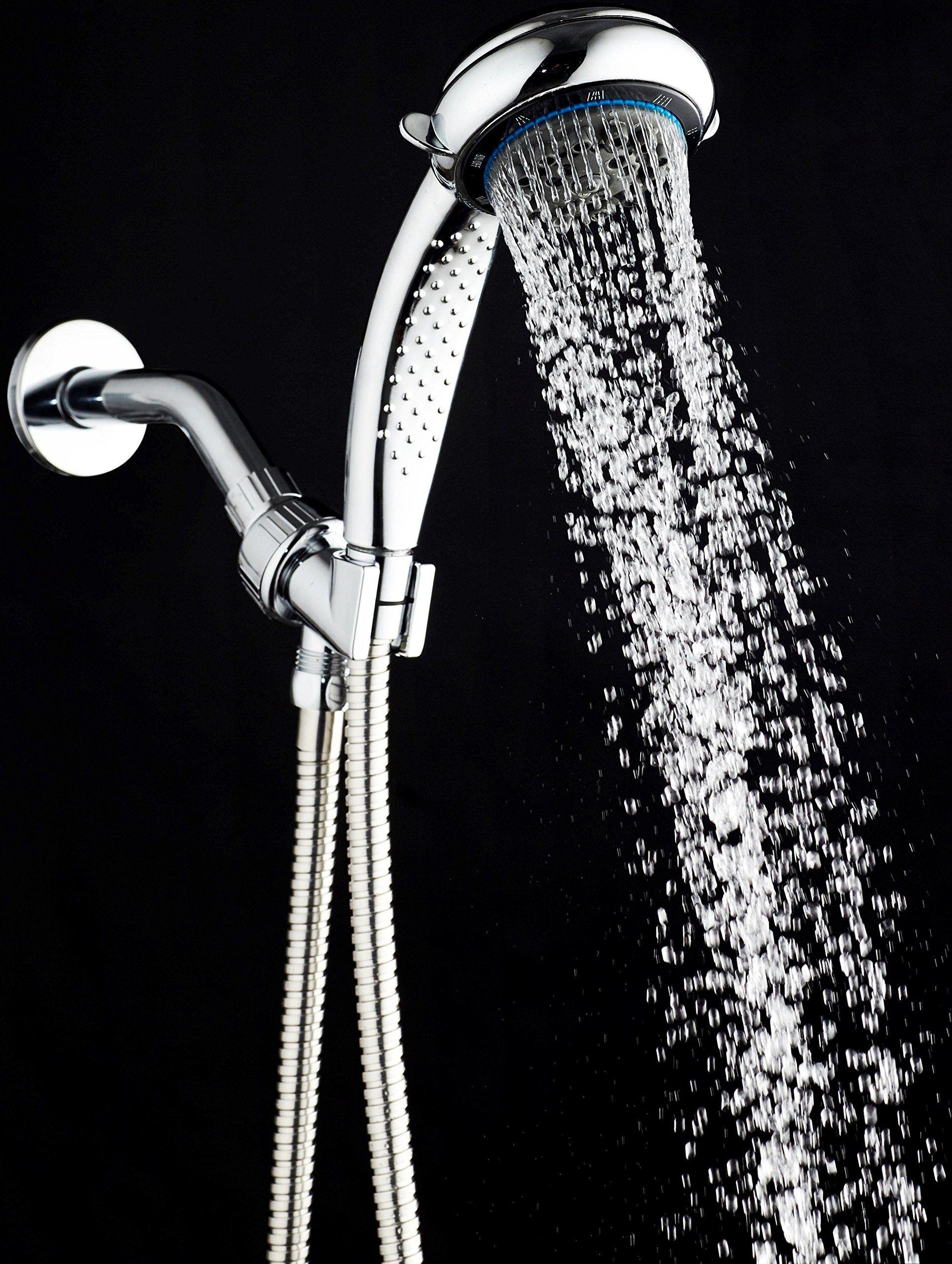 Handheld Shower Head with 8 Spray Settings, Chrome; Hose, Adjustable ...