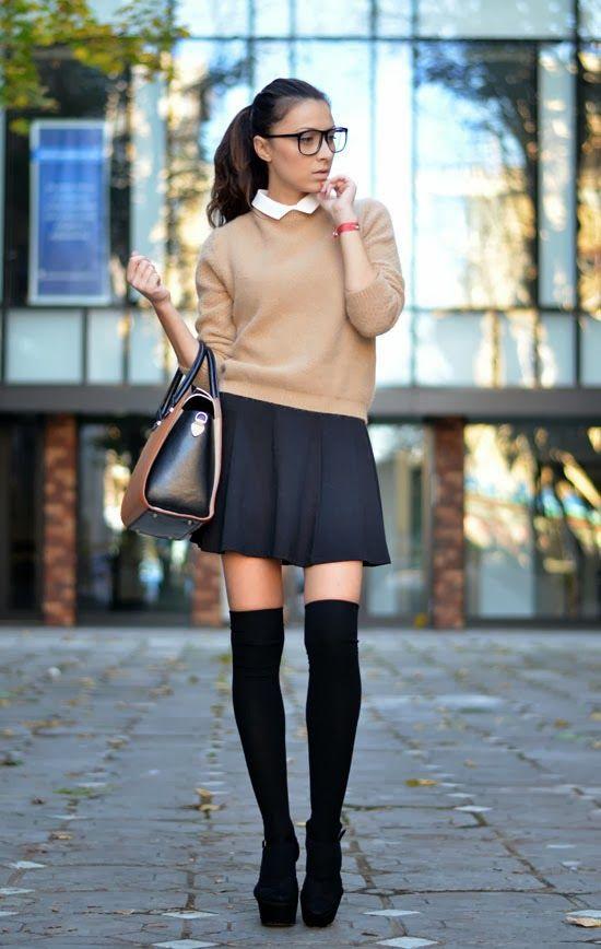 c34be54d9417c Pumps + knee-high socks + flared skirt + elbow-length sweater + peter pan  collar