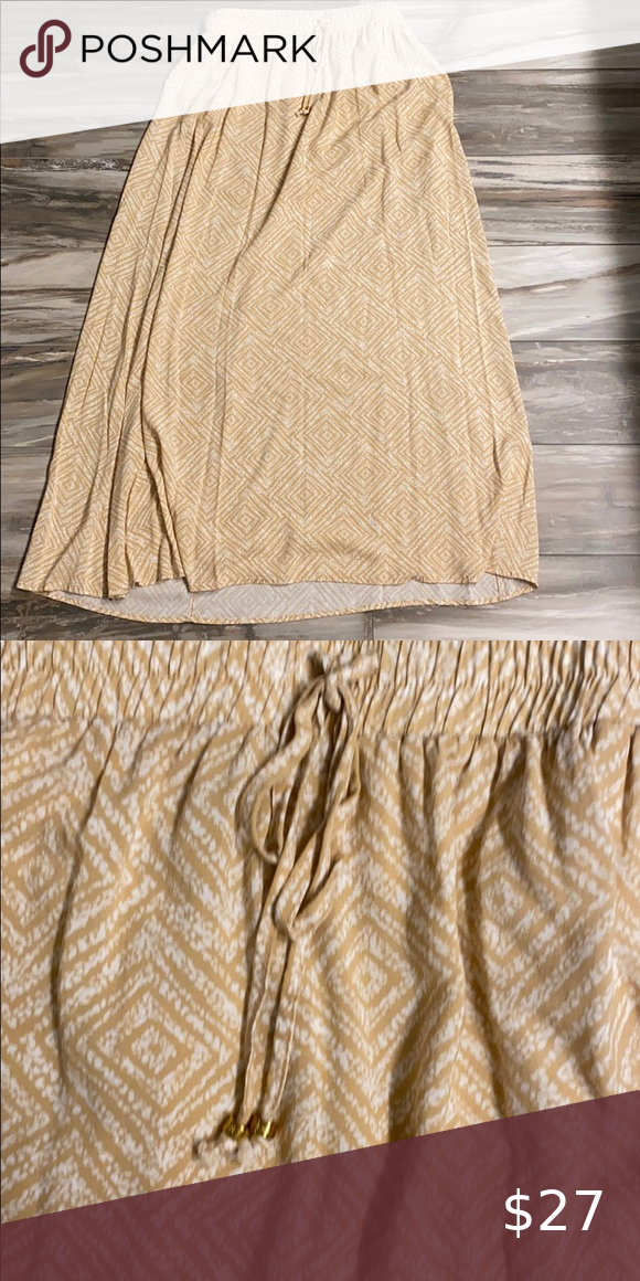 Guess cream and tan skirt