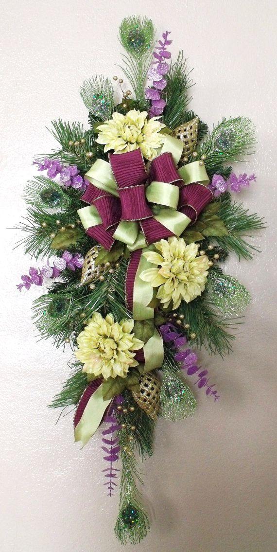Aubergine Chartreuse Christmas Swag Wreath Silk Holiday Door Decor Winter Decoration Arrangement Home On Etsy