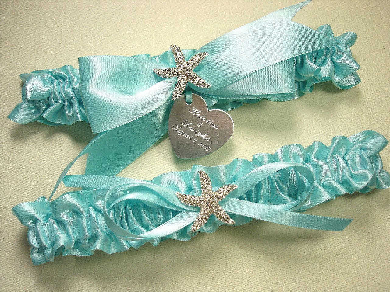 Tiffany Blue Beach Wedding Garter Set Personalized Starfish Garters With Engraving And A Rhinestone