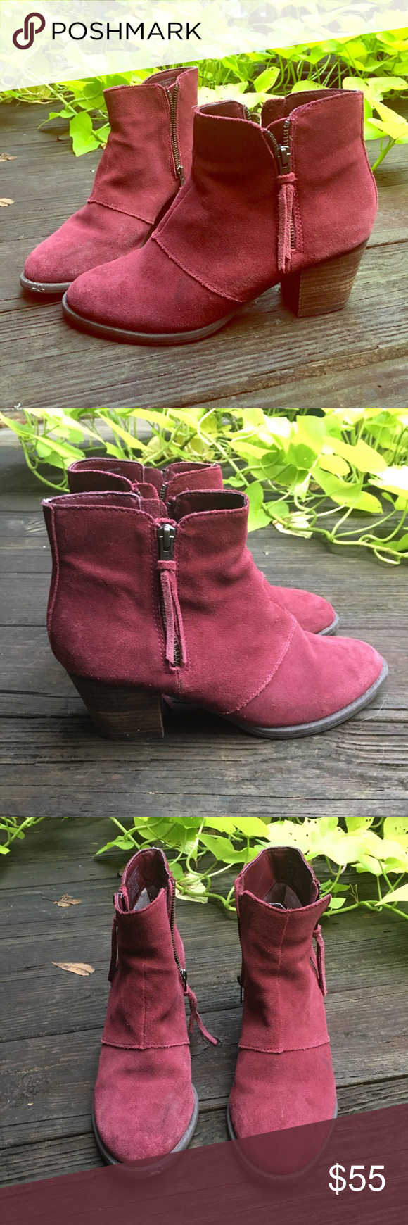 350496048ac Maroon Suede Booties Maroon suede booties by American Eagle. Stacked heel