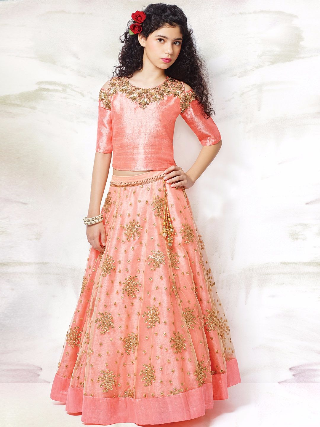 silver angels.net Shop G3 Exclusive pink net and raw silk wedding wear circular girls lehenga  choli online from