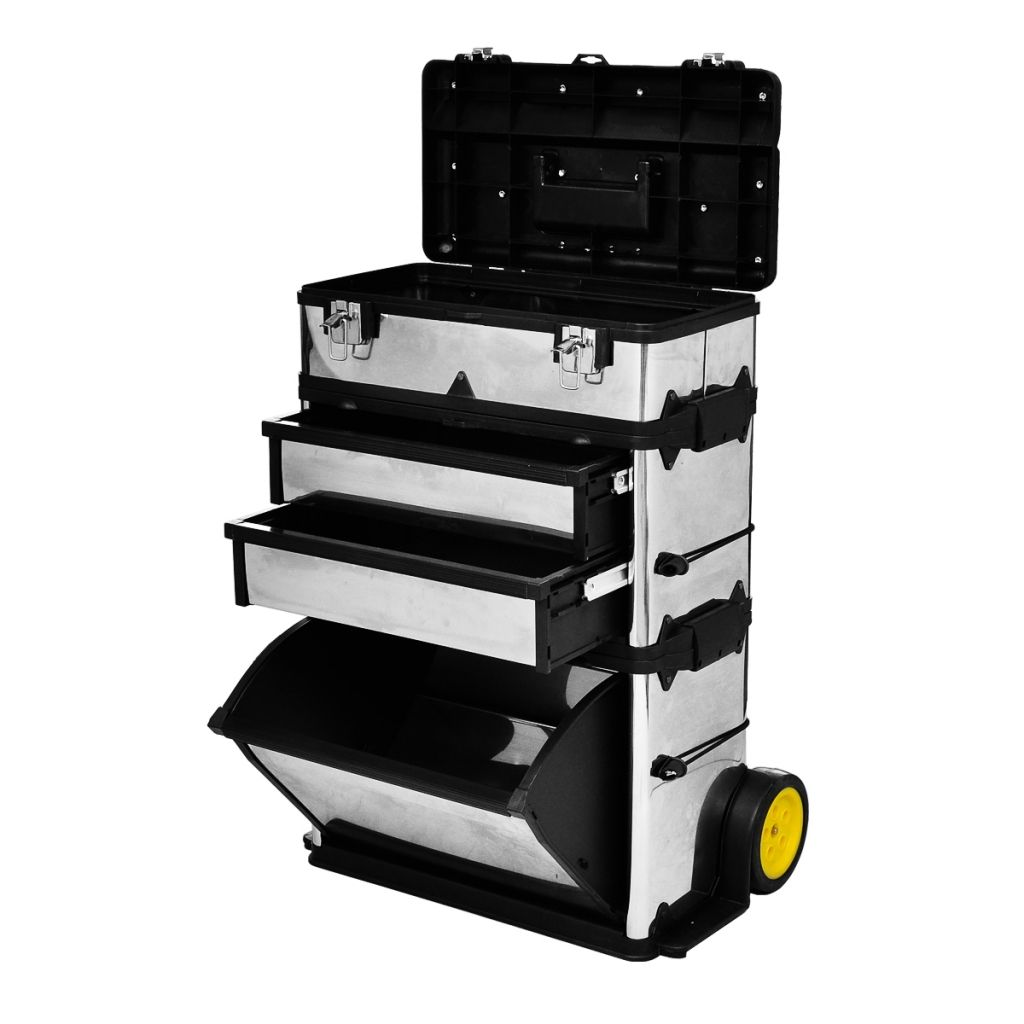 3 Part Rolling Tool Box With 2 Wheels Rolling Tool Box Tool Box Portable Tools