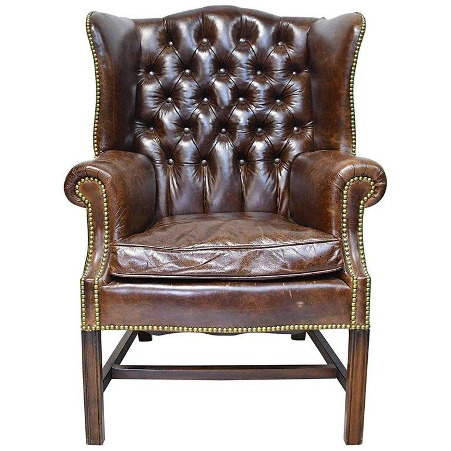 Vintage Chesterfield Wing Back Chair With Tufted Brown Leather