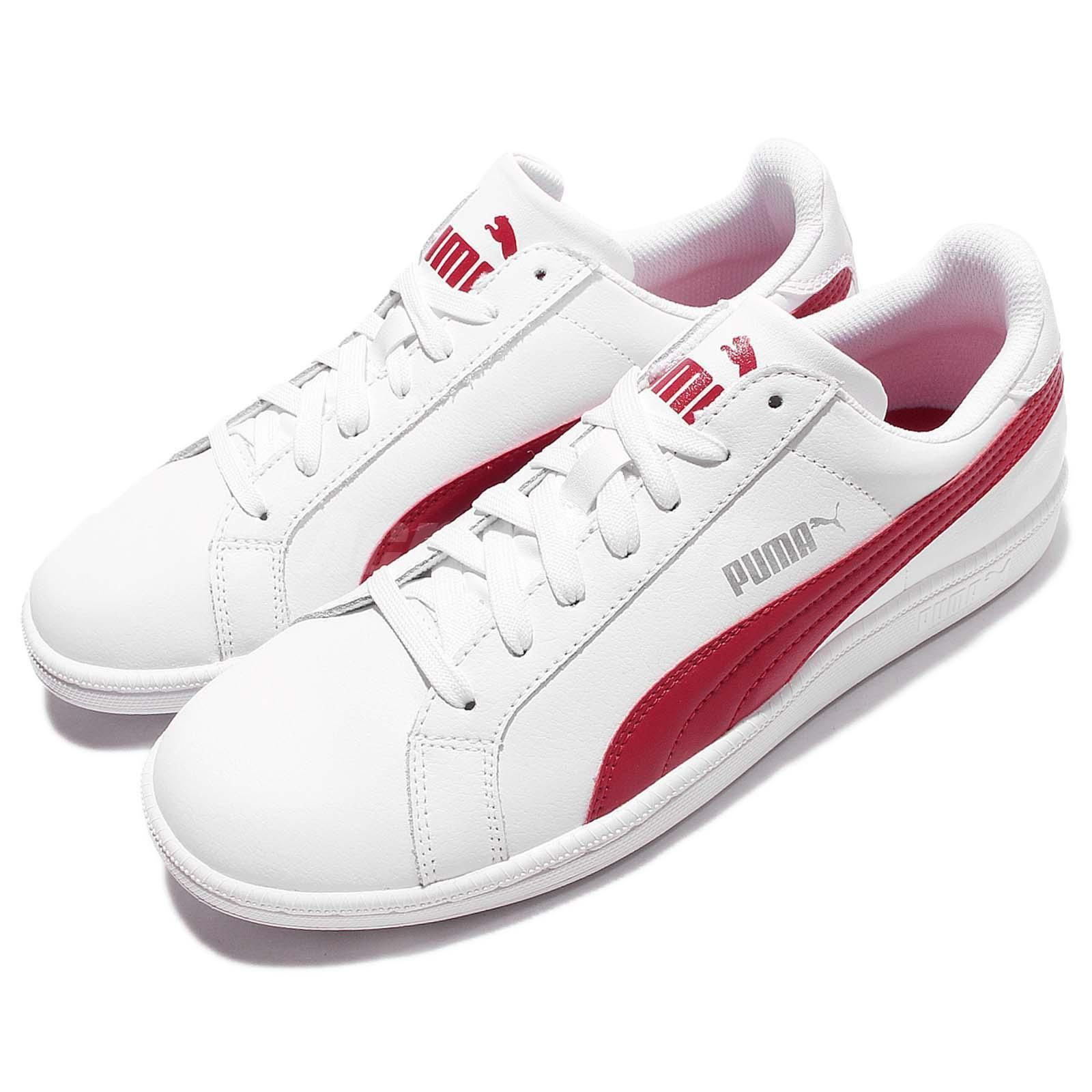 Puma Smash L White Red Retro Leather Mens Tennis Shoes Casual Sneakers  356722-18