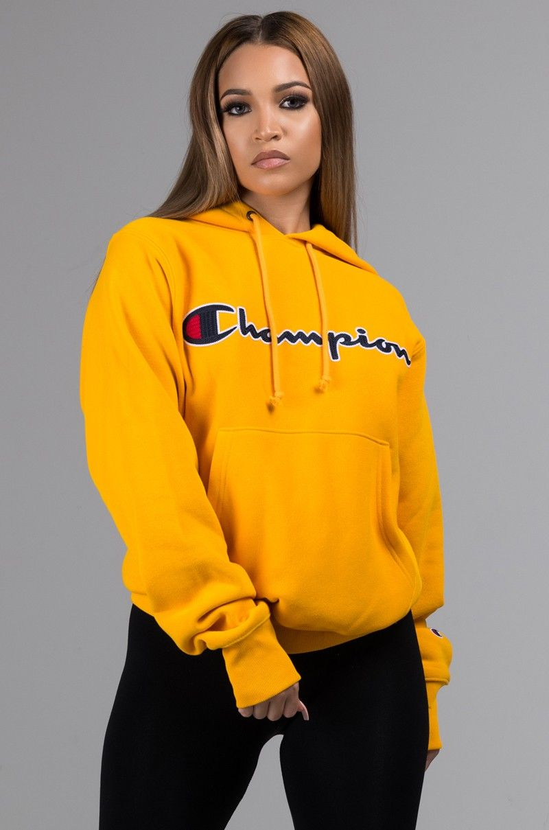 Chamion Reverse Weave Signature Logo Hooded Sweatshirt In Gold Hoody Outfits Stylish Hoodies Champion Clothing [ 1209 x 800 Pixel ]
