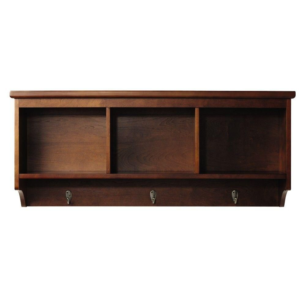 Wellman 8 5 In W X 38 In L Wall Shelf With 3 Hooks In Dark Cherry Products Wall Hanging Shelves Wall Shelves Wall Shelf With Hooks