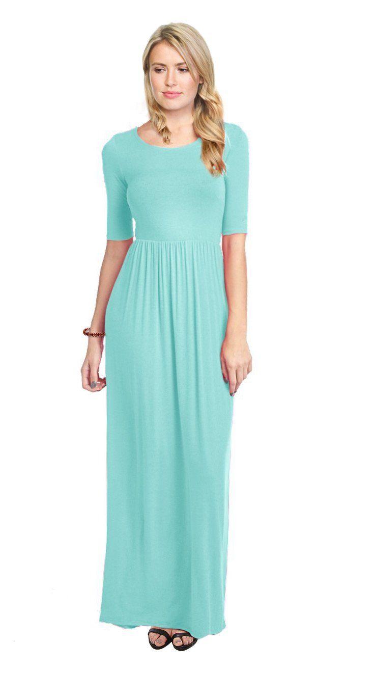 Long solid rayon maxi dress empire elastic maxi dress