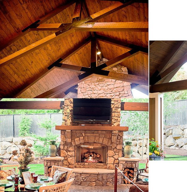 Covered Backyard Space Designs: Outdoor Space ... Fireplace, Vaults With Beams, Stamped