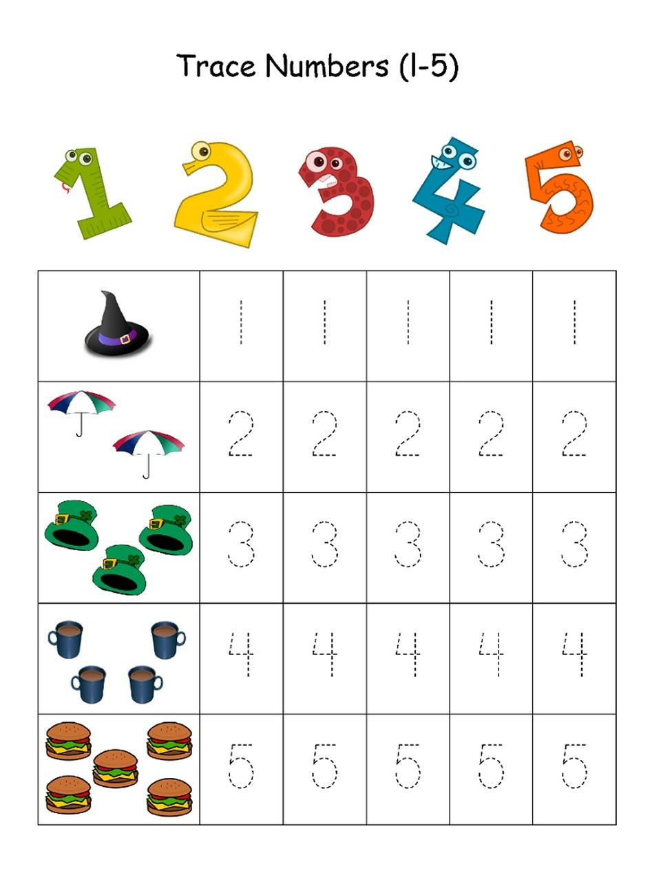 Numbers 15 Traceable Kids learning activities, Number