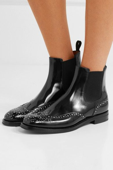 Ketsby Met Studded Glossed-leather Chelsea Boots - Black Churchs xOEPv