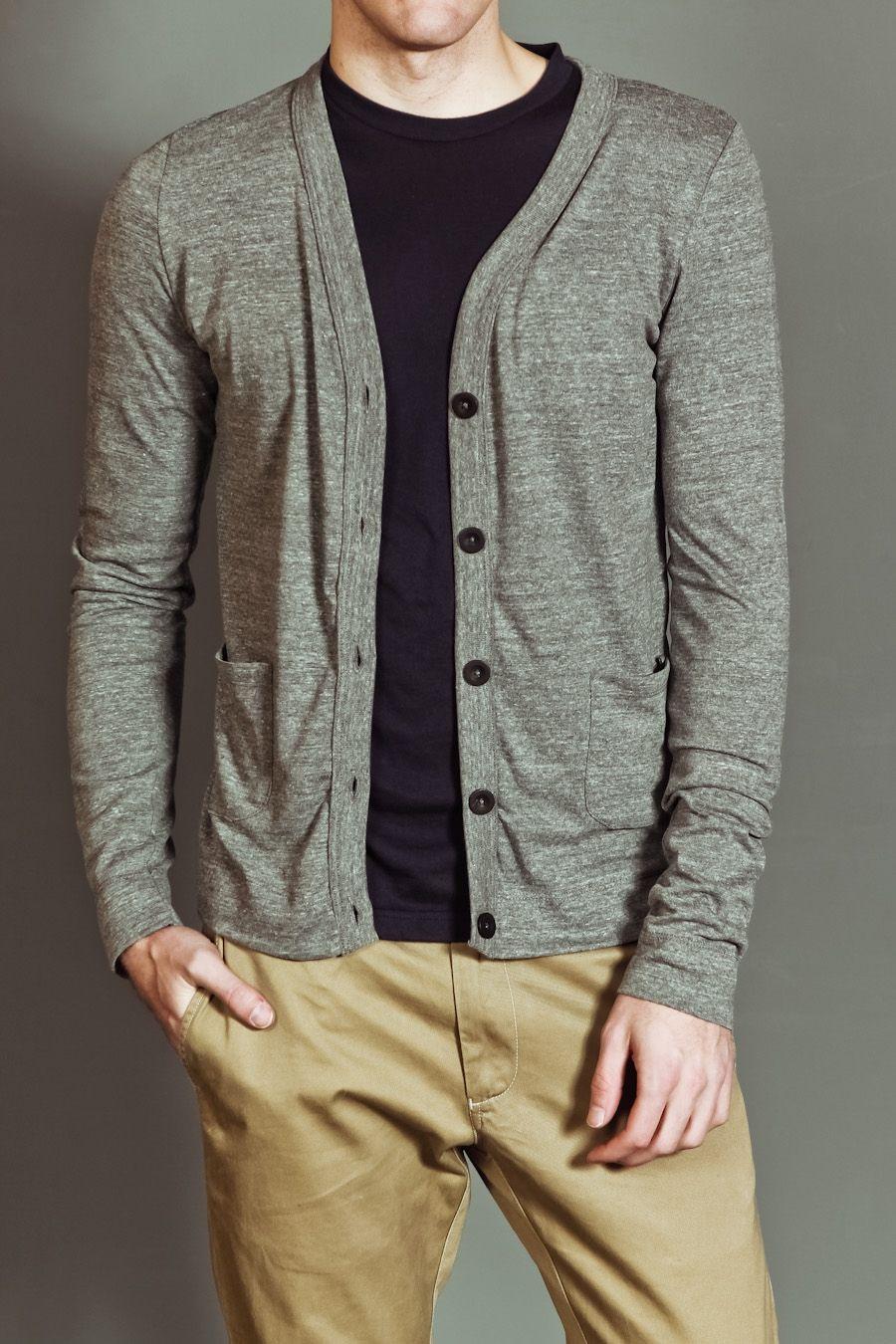 LAYM Long Sleeve Tri-Blend Slim Fit Cardigan Tri-Grey