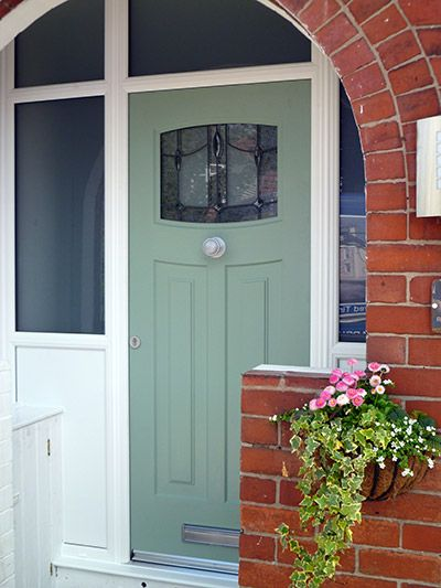 Chartwell Green composite door with leaded windows by ...