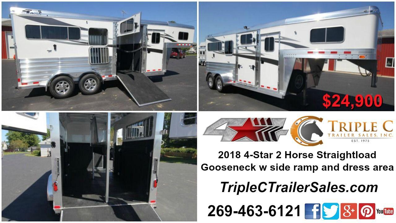 2018 4Star 2 Horse Straightload Gooseneck Trailer w side