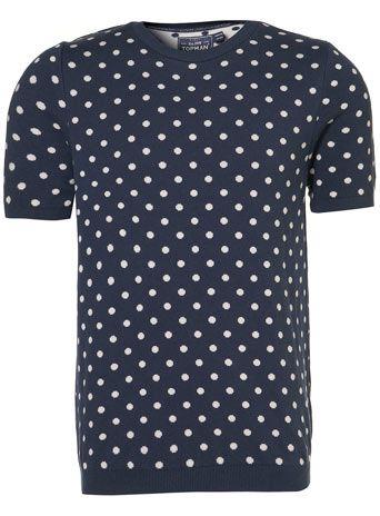 Blue Polka Dot Knitted T-shirt