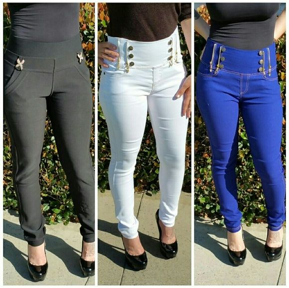 High waist leggings High waist leggings with front and back pockets. With stretch. Pants Leggings