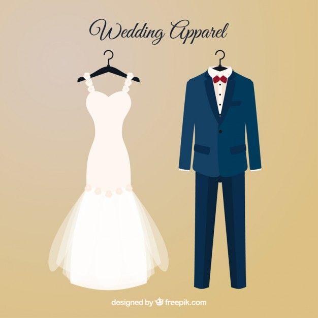 vestido de novia y traje de novio con perchas vector gratis