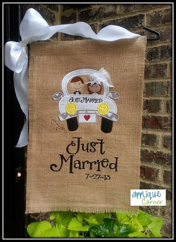 Unique Personalized Burlap Just Married Garden Flag By SusiesStash, $39.95