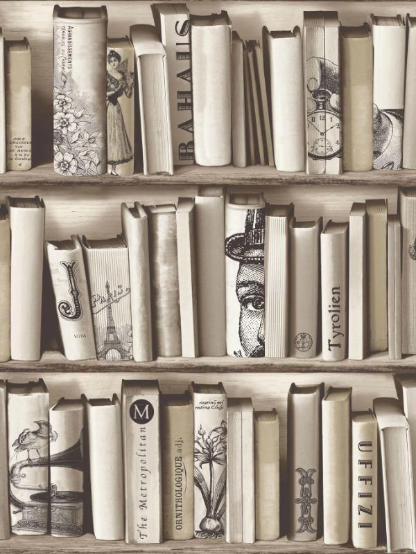 Papier peint vinyle trompe lu0027œil bibliothèque beige -UGEPA