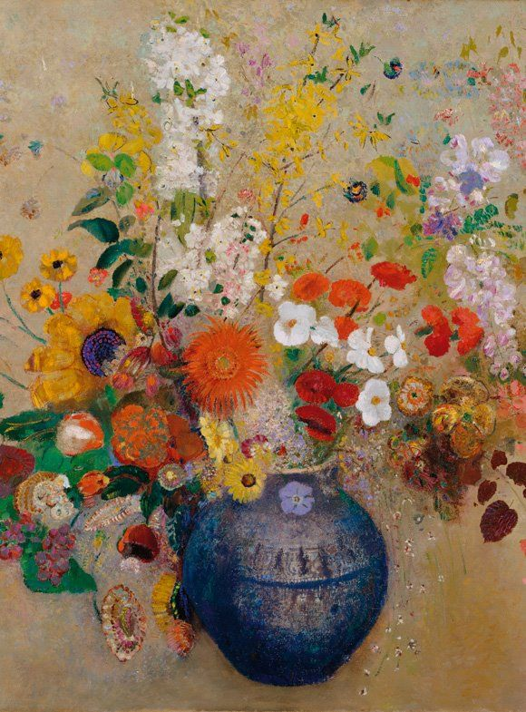 Odilon Redon, Flowers in a vase // Odilon Redon, Jarrón con flores ...